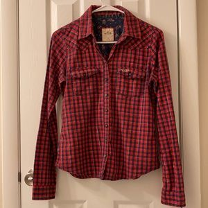 5/$25 Hollister red/blue/silver button down, M